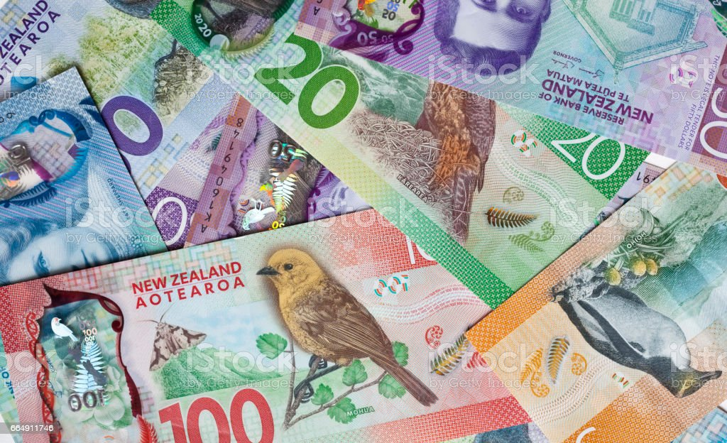New Zealand money, currency or cash stock photo