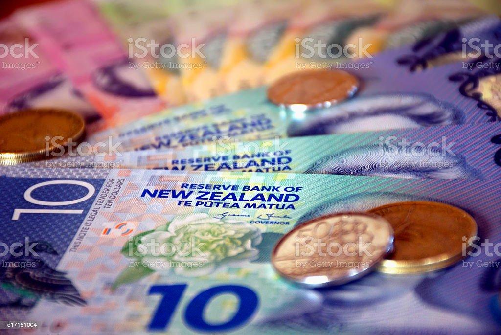 New Zealand Money (NZD); Dollars & Coins stock photo