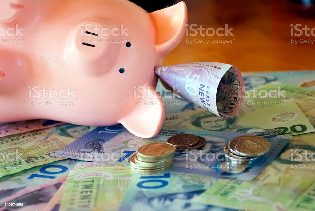 New Zealand Money (NZD); Dollars & Coins with a Piggy Bank stock photo