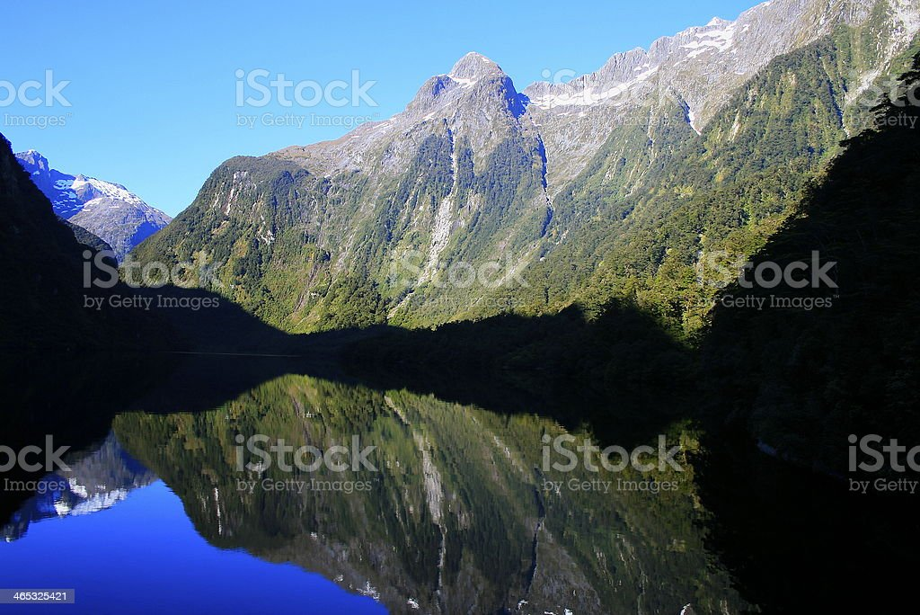 New Zealand panorama of Doubtful Sound - fjord near Milford stock photo