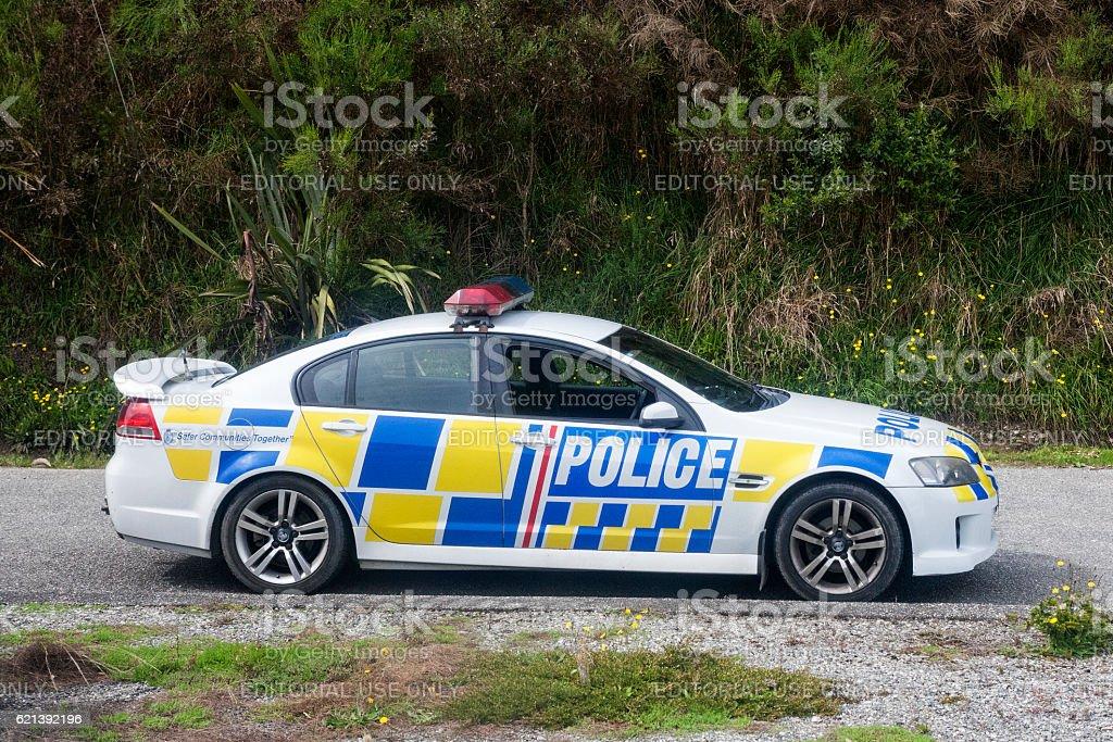 New Zealand Police car in Hokitika, New Zealand stock photo