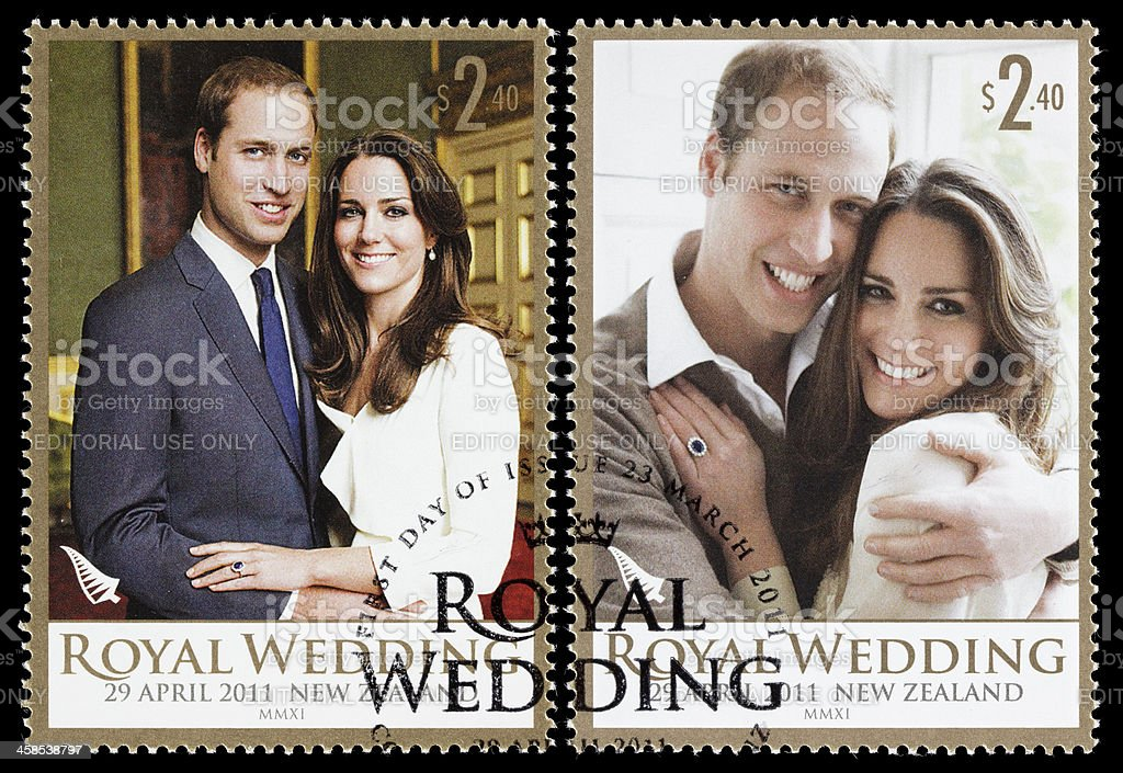 New Zealand Prince William and Kate royal wedding postage stamps royalty-free stock photo