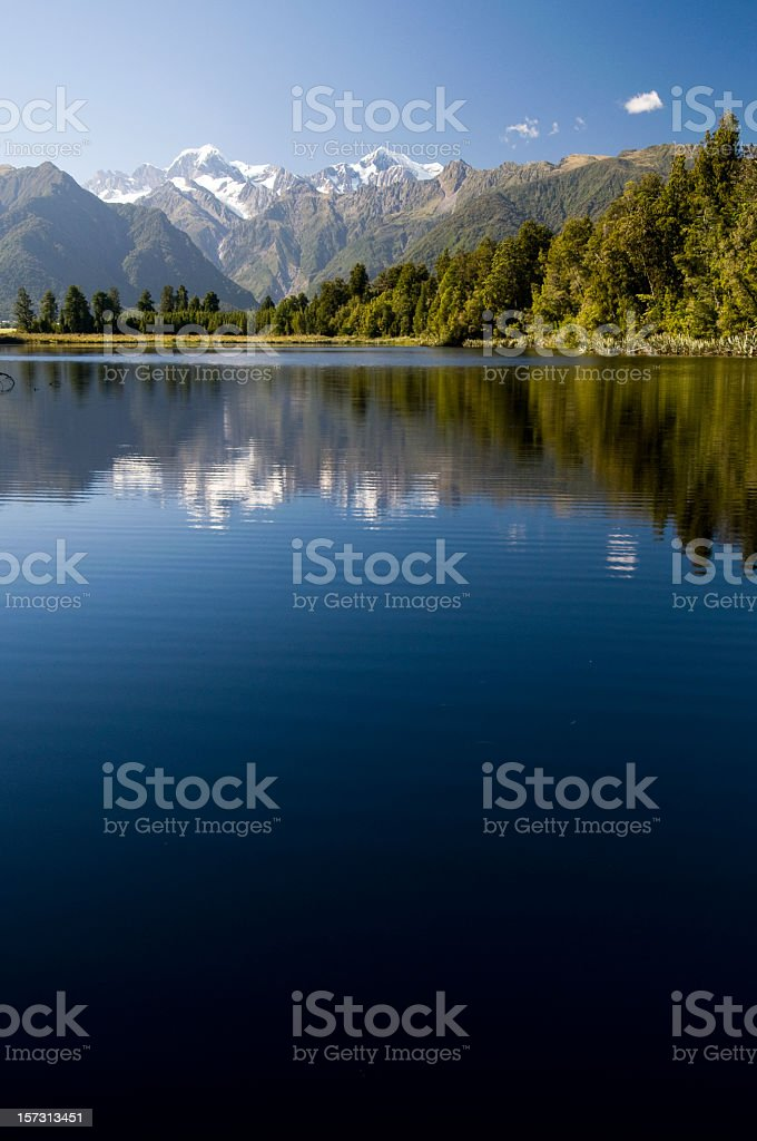 New Zealand Reflected in Lake Matheson stock photo