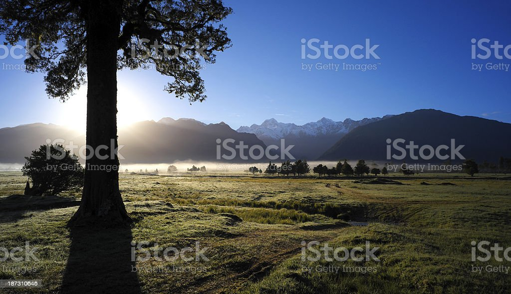 New Zealand Scenic At Dawn stock photo