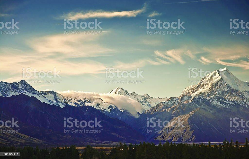New Zealand scenic mountain landscape stock photo