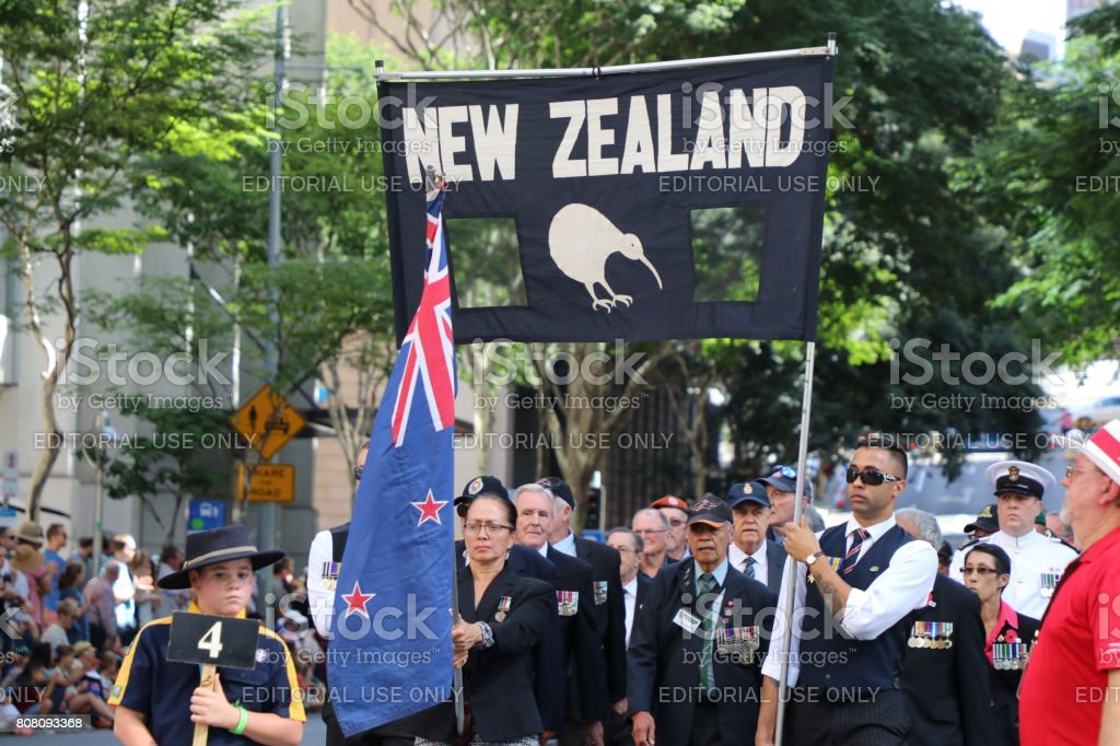 New Zealand soldiers march stock photo