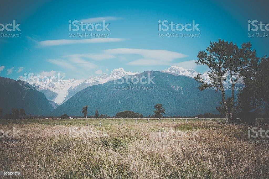New Zealand, South Island Landscape Panorama, Whataroa Region stock photo