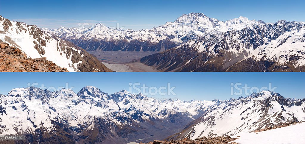 New Zealand Southern Alps Panorama stock photo