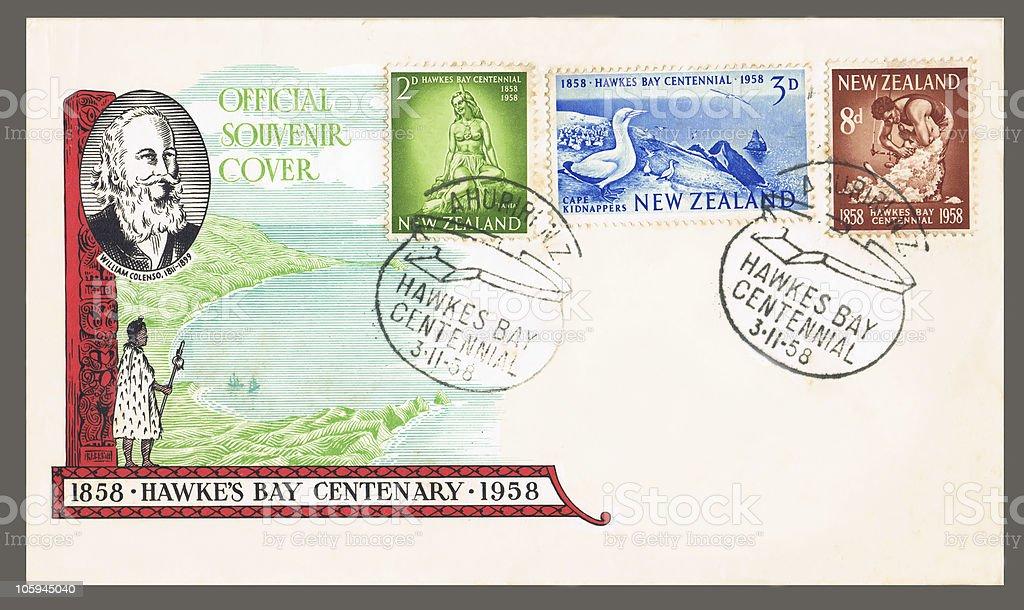 New Zealand souvenir postal envelope 1958 stock photo