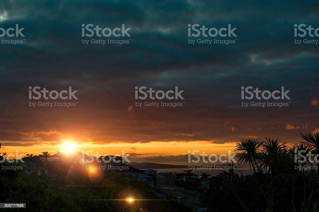 New Zealand Sunrise with flare stock photo