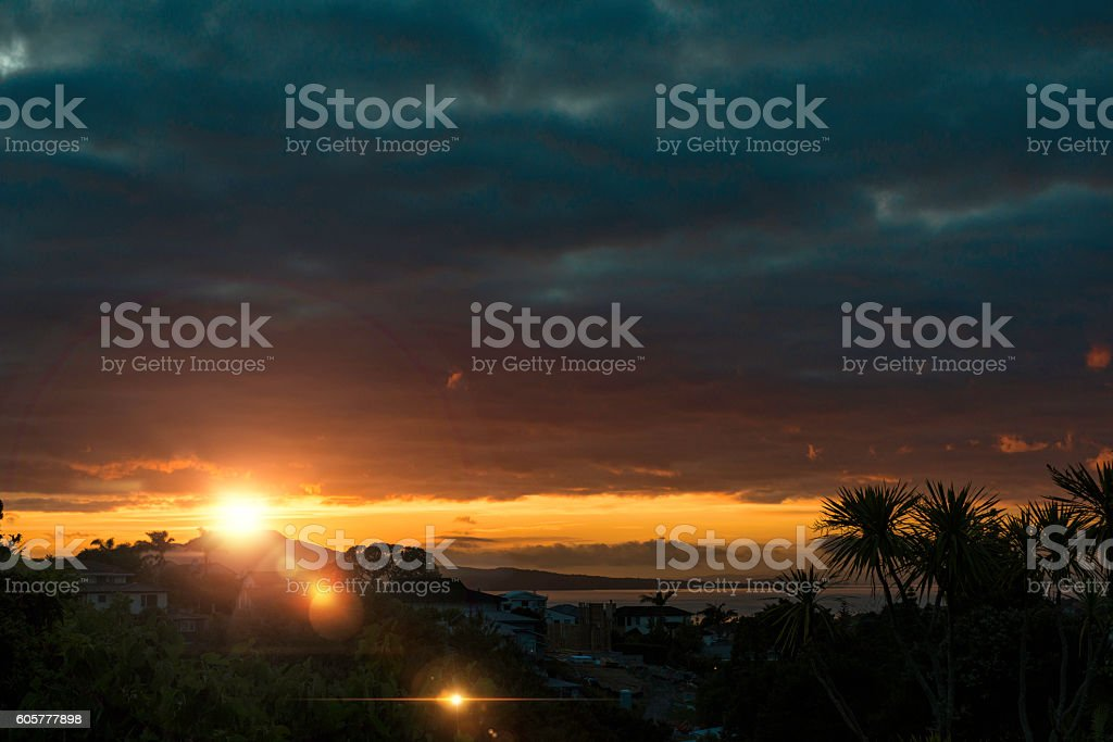 New Zealand Sunrise with flare stock photo