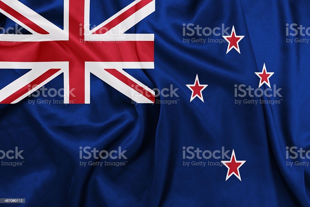 New Zealand - Waving national flag on silk texture stock photo