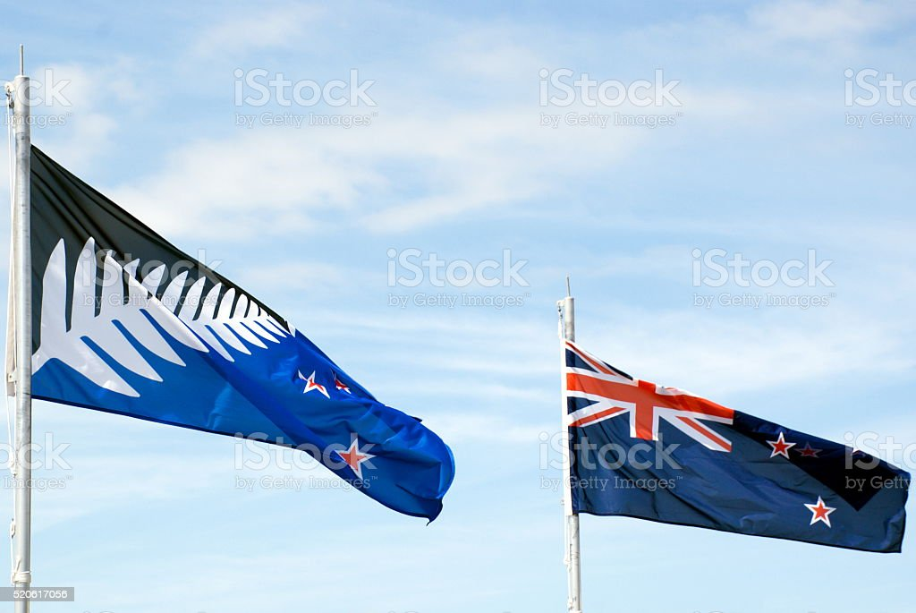 New Zealand's Current Flag alongside the newly proposed Silver Fern stock photo