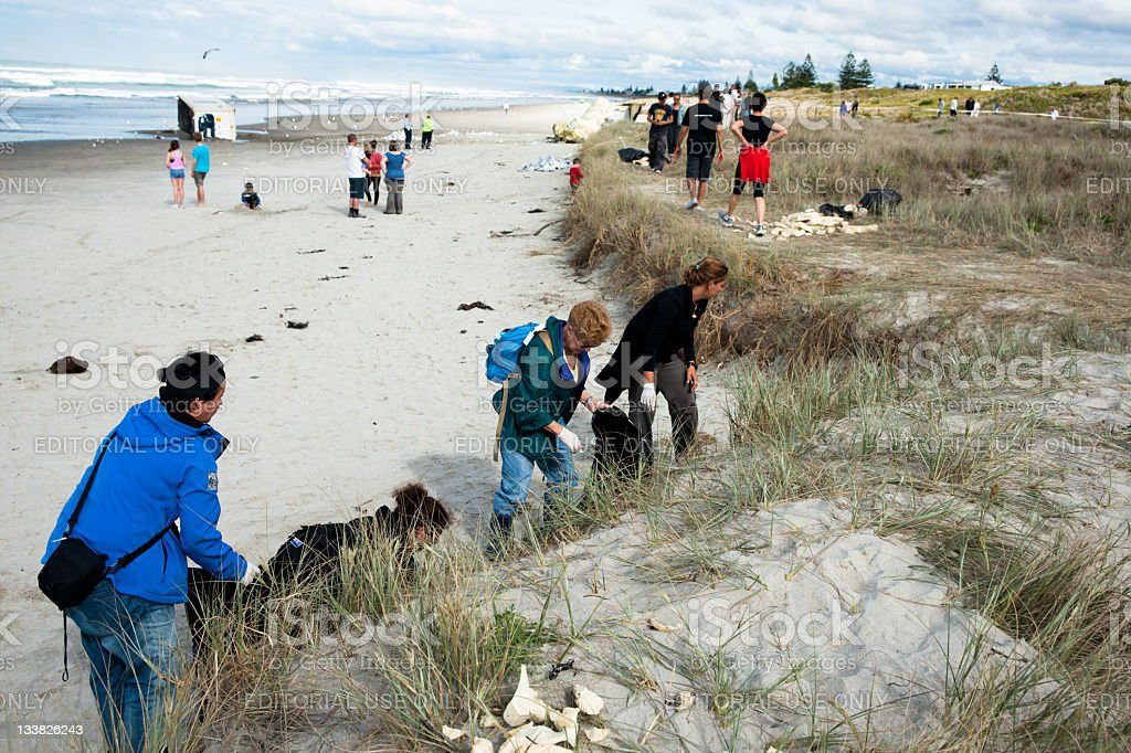 New Zealands worst maritime environmental disaster stock photo