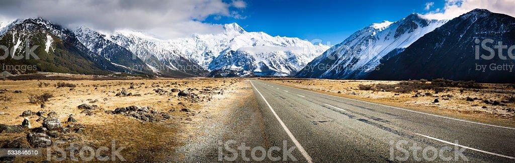 New Zeland road landscape mountains stock photo