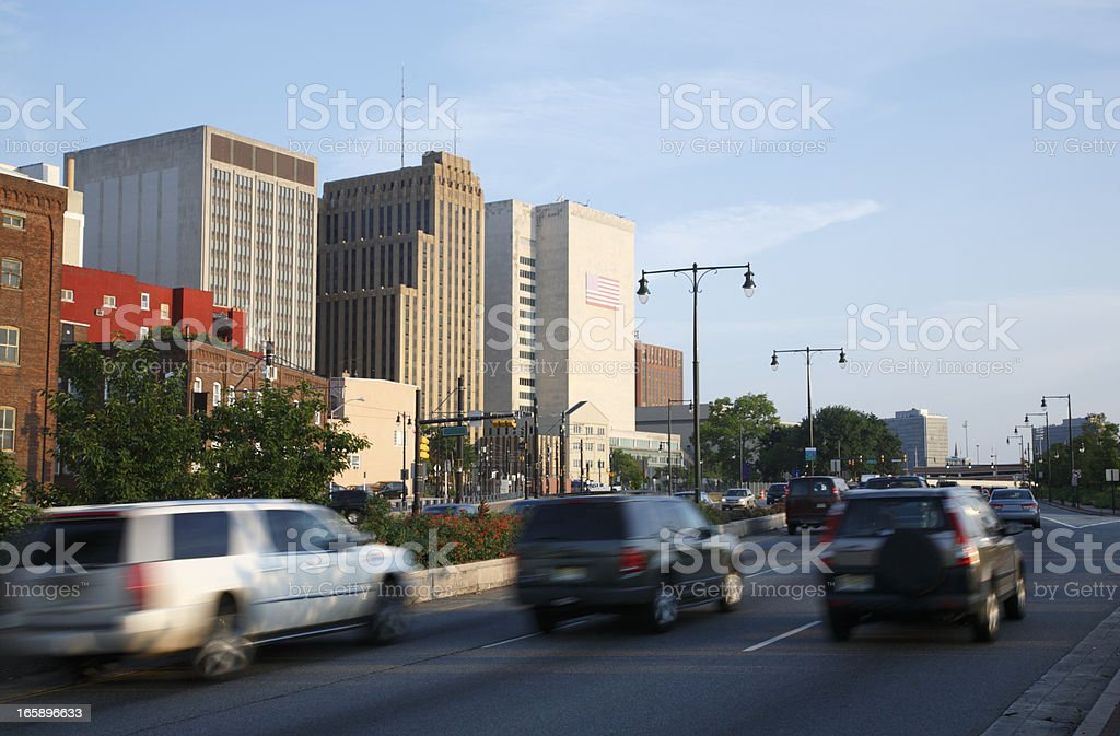 Newark, NJ Downtown Highway On The Move royalty-free stock photo