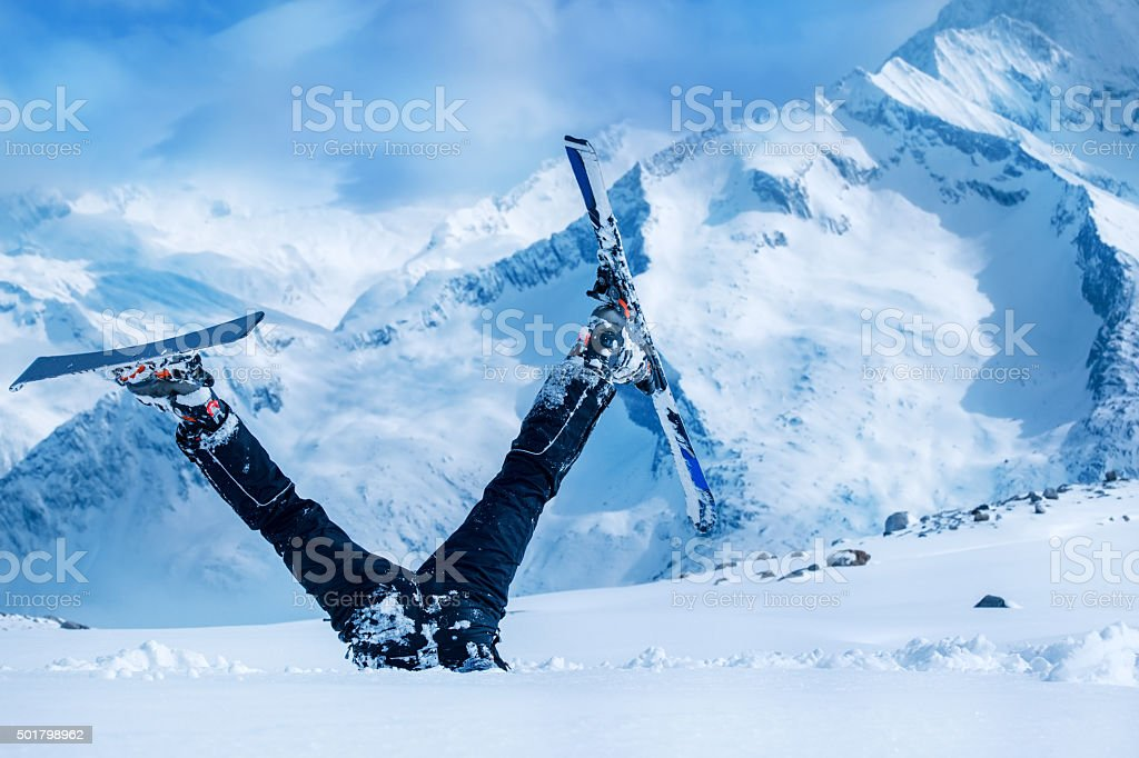 Newbie skier stock photo