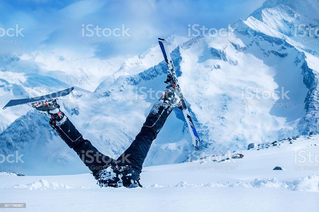 Newbie skier stock photo