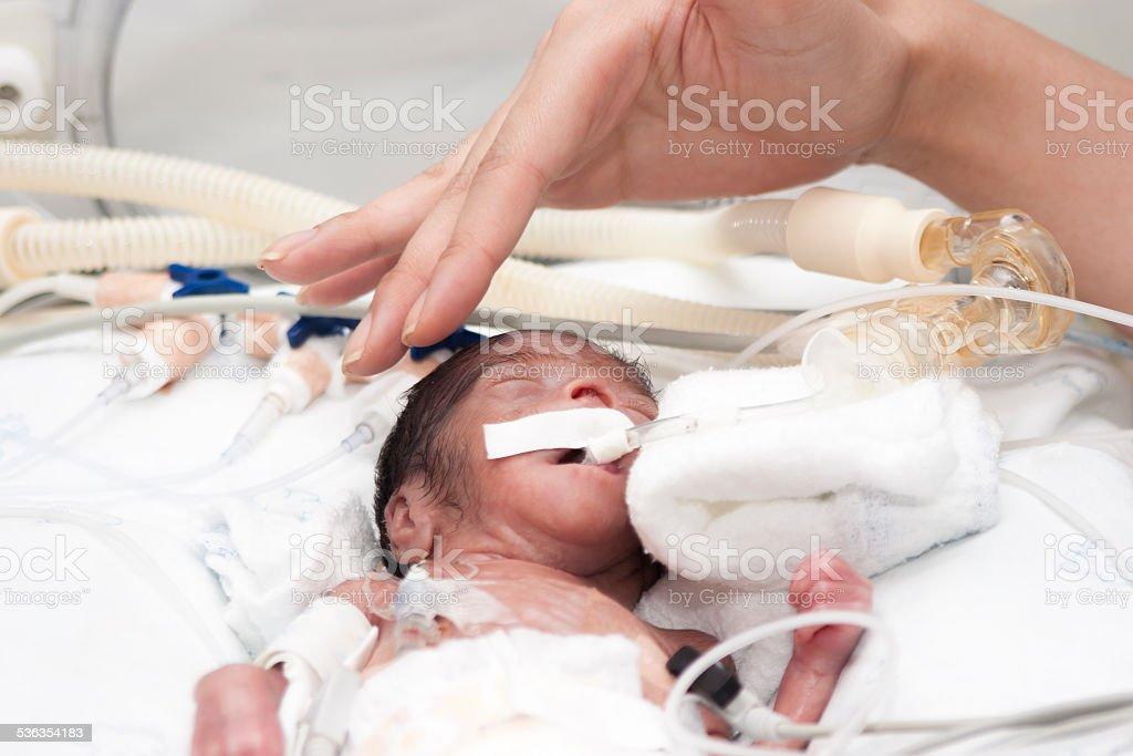 Newborn and hand stock photo