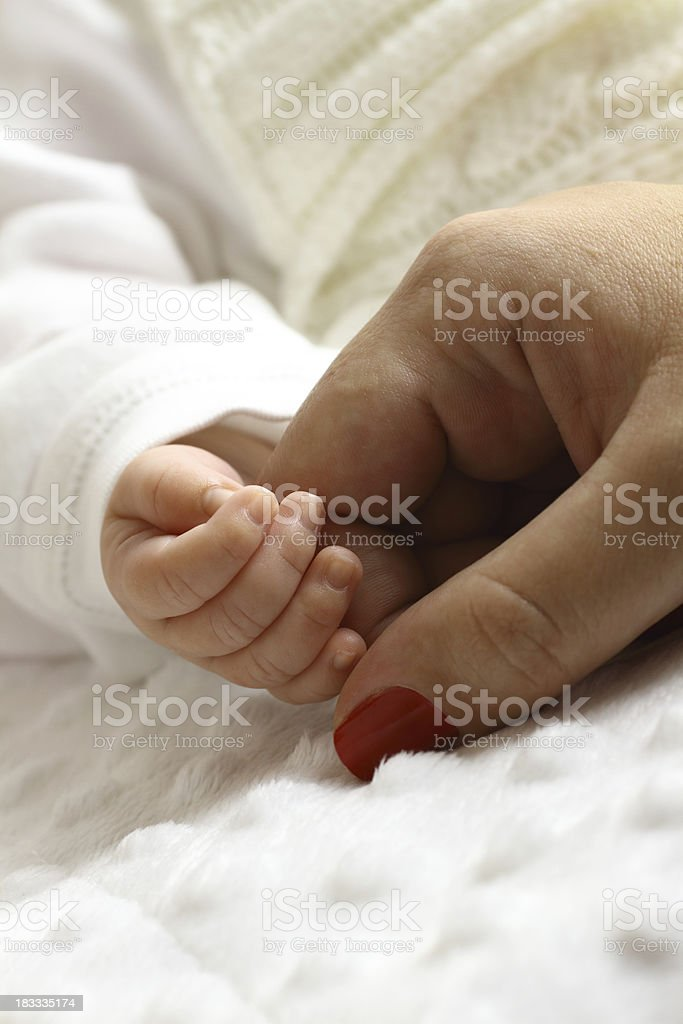 Newborn and mother hands royalty-free stock photo