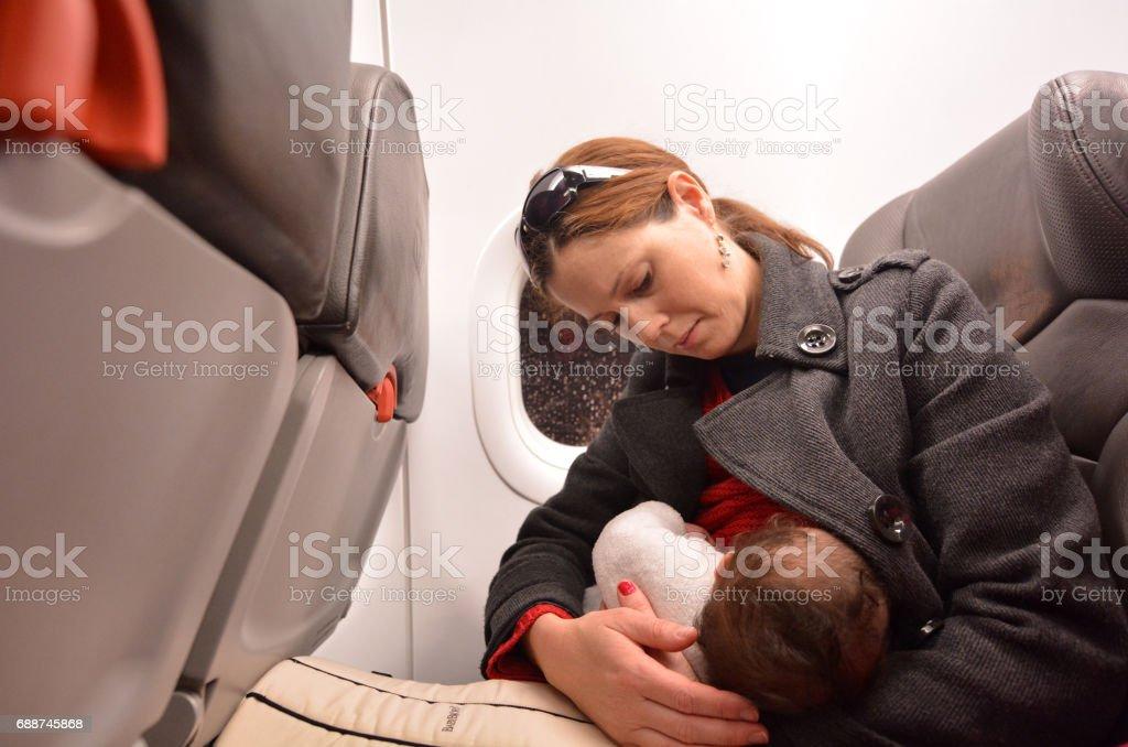 Newborn Baby air travel stock photo