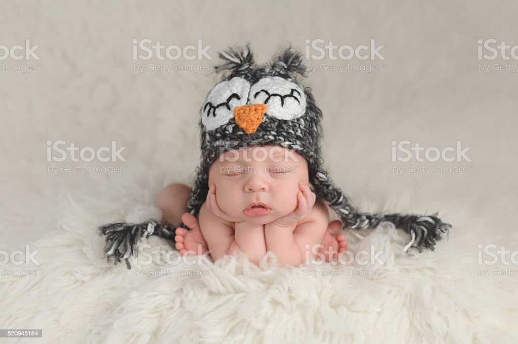 Newborn Baby Boy Wearing an Owl Hat stock photo