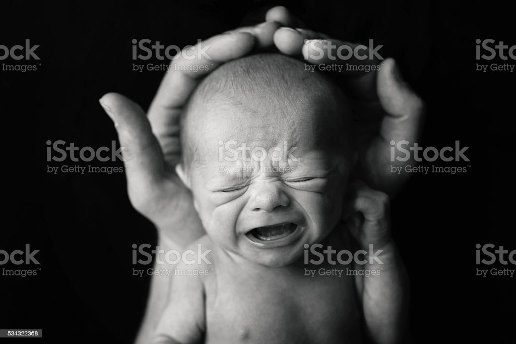 Newborn Baby Crying stock photo