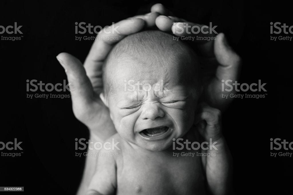 Newborn Baby Crying stock photo