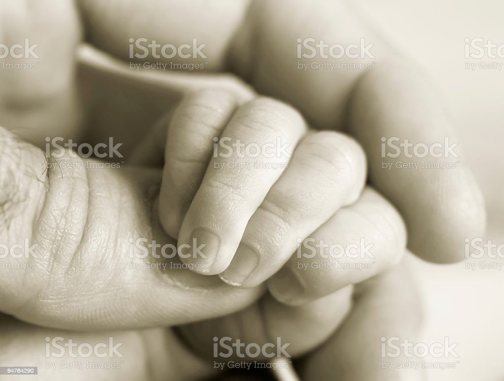 new-born baby fingers (b/w version) royalty-free stock photo