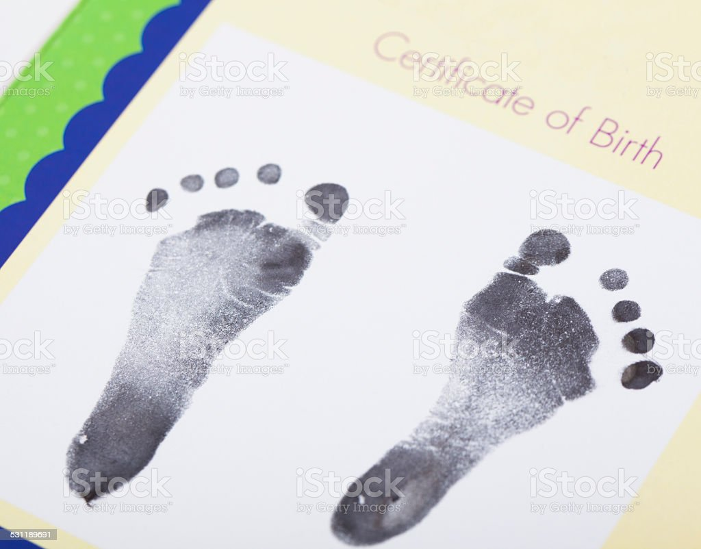 Newborn Baby Foot Print stock photo