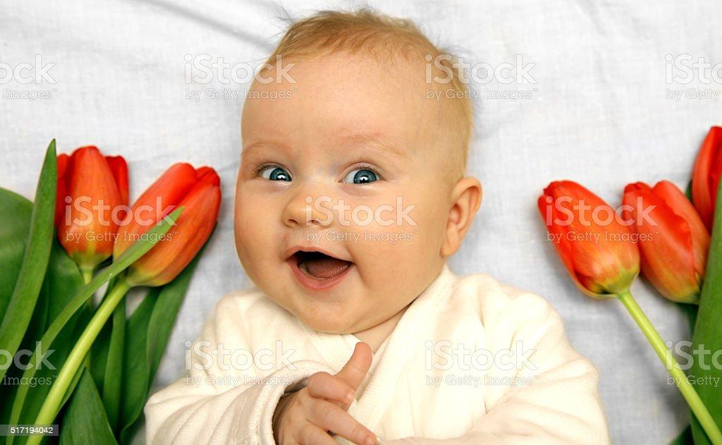newborn baby girl boy laughing among red tulips stock photo