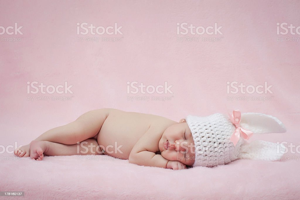 Newborn baby girl right after delivery. royalty-free stock photo