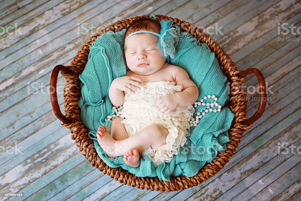 Newborn Baby Girl Sleeping in a Basket stock photo
