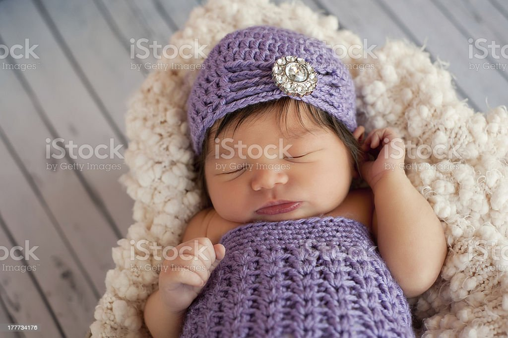 Newborn Baby Girl Wearing a Flapper Hat royalty-free stock photo