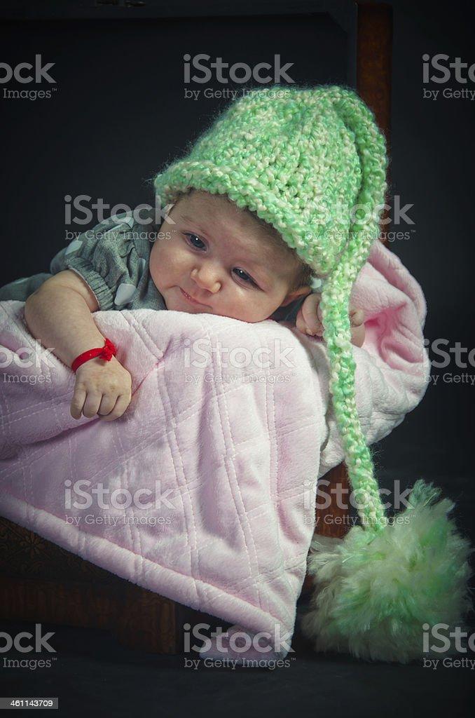 Newborn Baby Girl Wearing a Hat royalty-free stock photo