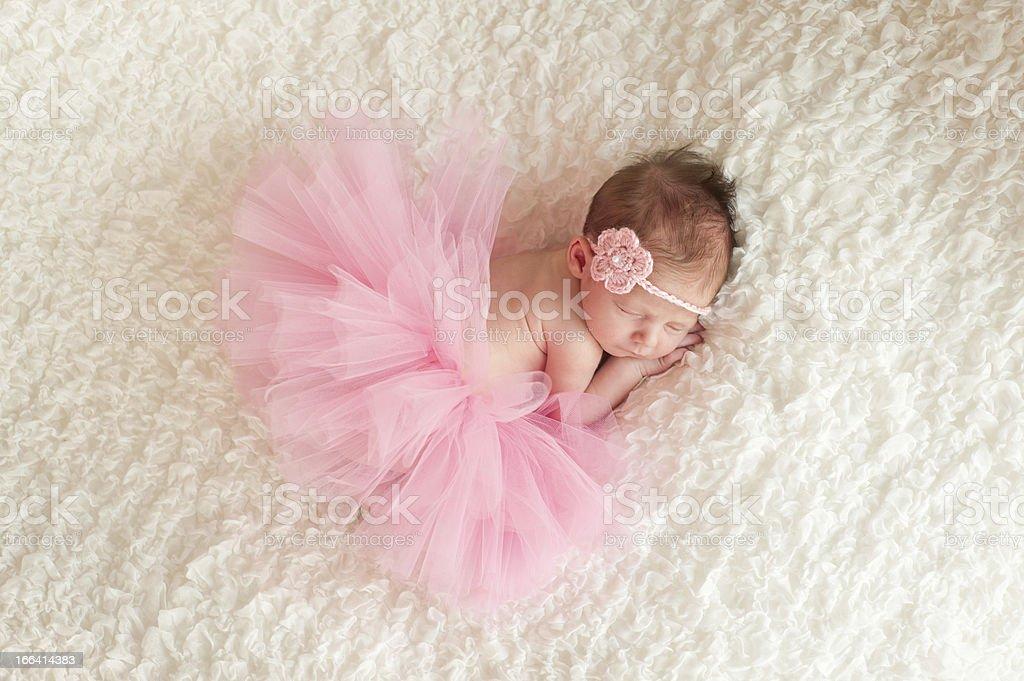 Newborn Baby Girl Wearing a Pink Tutu stock photo