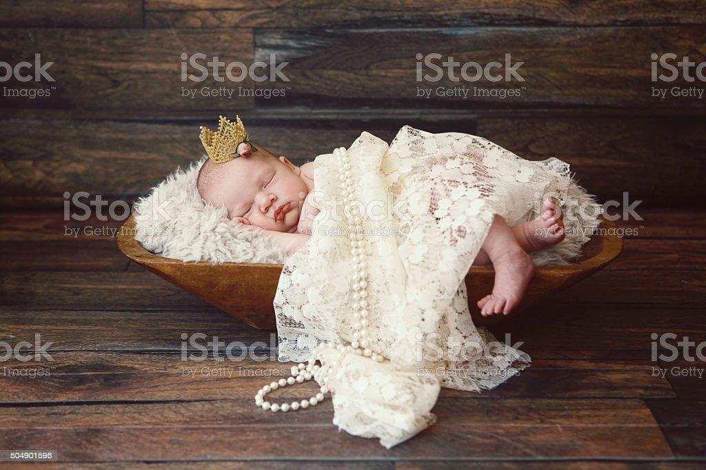 Newborn Baby Girl Wearing Crown stock photo