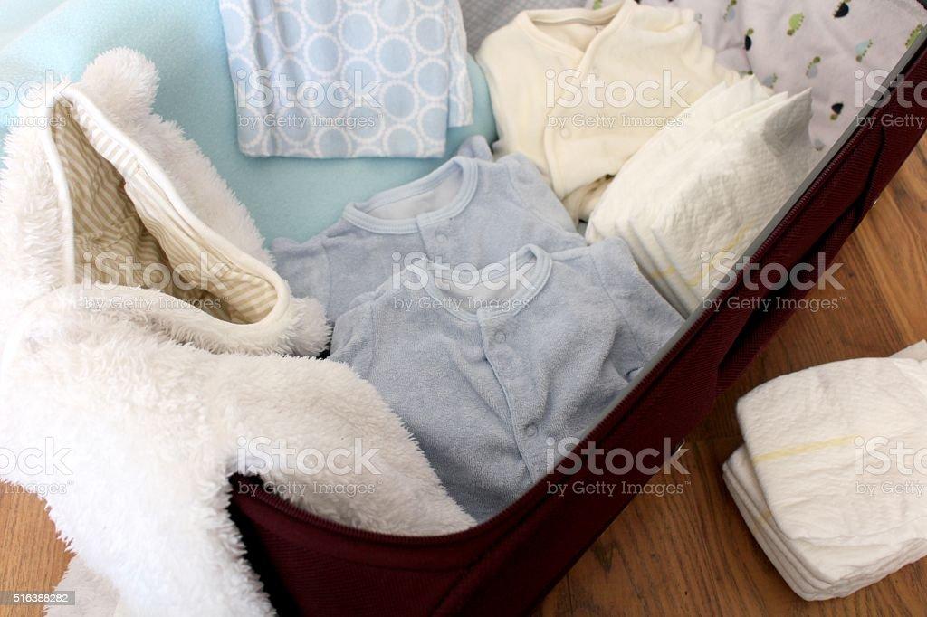 Newborn baby hospital bag stock photo