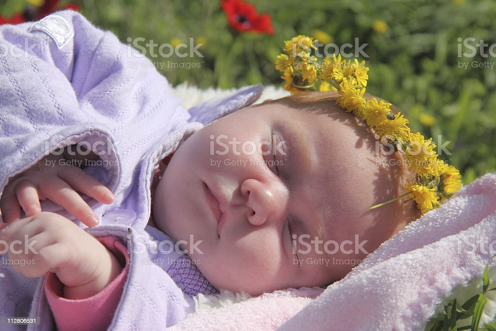 newborn baby in spring-time royalty-free stock photo