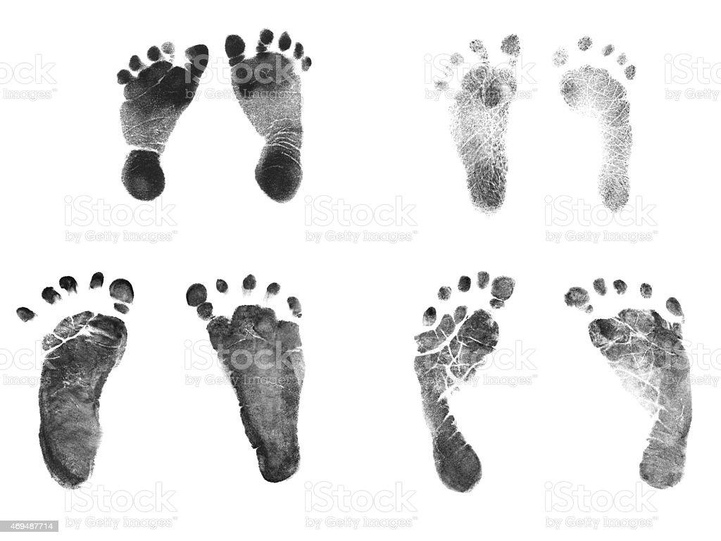 Newborn Baby Ink Footprints stock photo