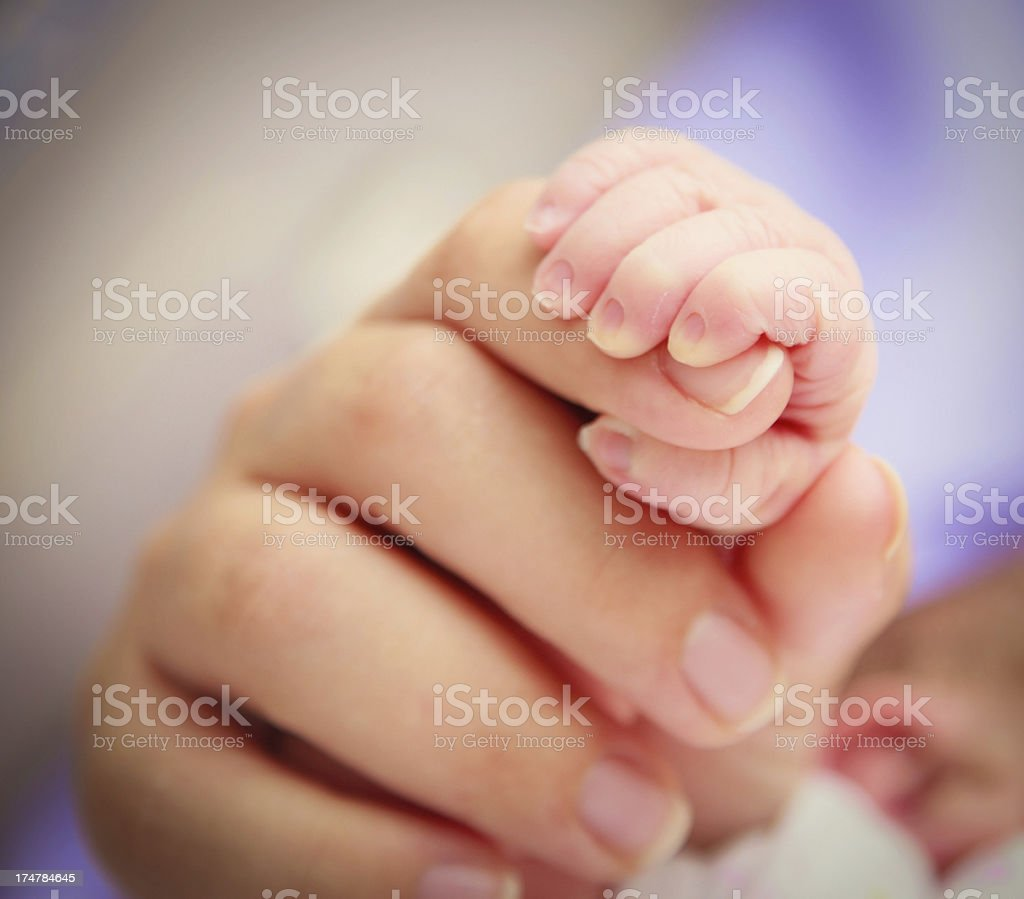 Newborn baby is holding royalty-free stock photo