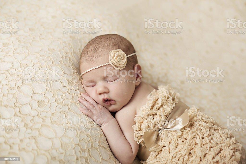 Newborn baby peacefully sleeping royalty-free stock photo