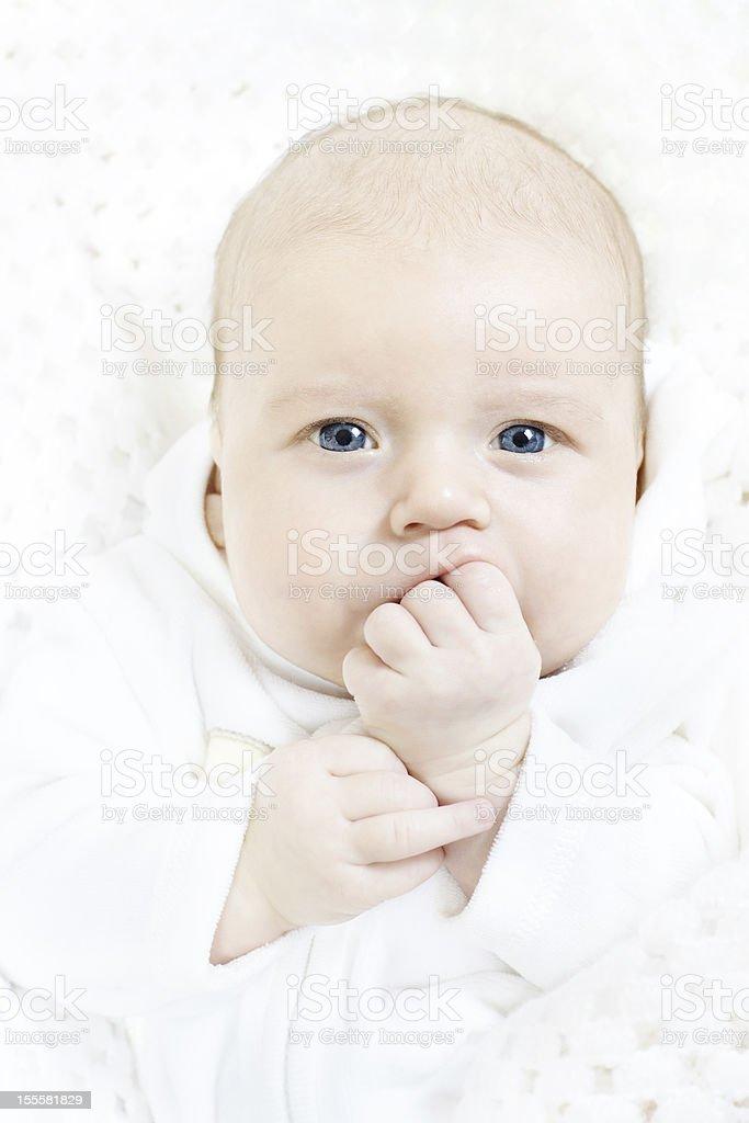 newborn baby portrait stock photo
