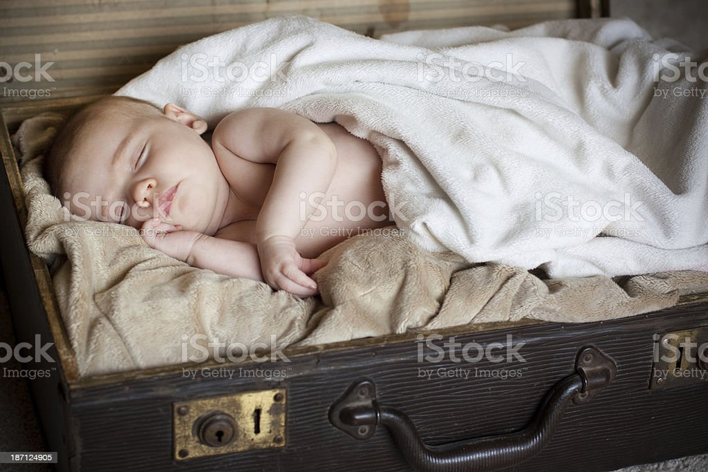 Newborn Baby Sleeping in Antique Suitcase royalty-free stock photo