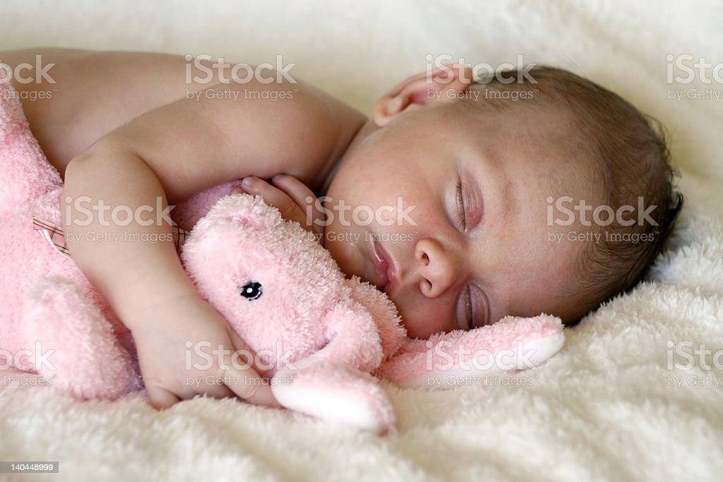 newborn baby sleeping with toy bunny rabbit royalty-free stock photo