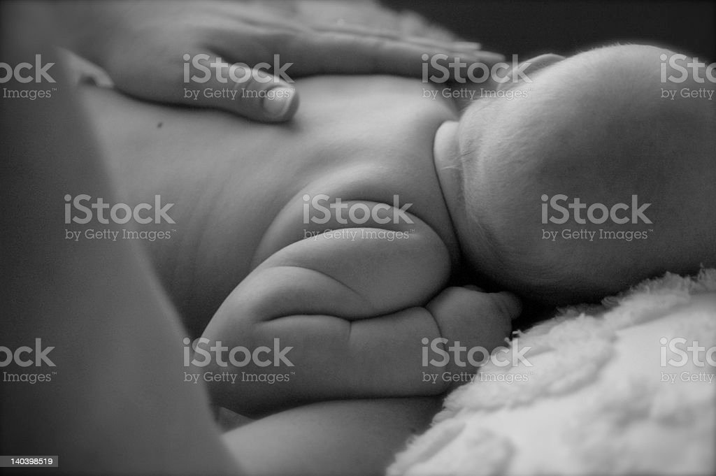 newborn baby with mom's hand royalty-free stock photo
