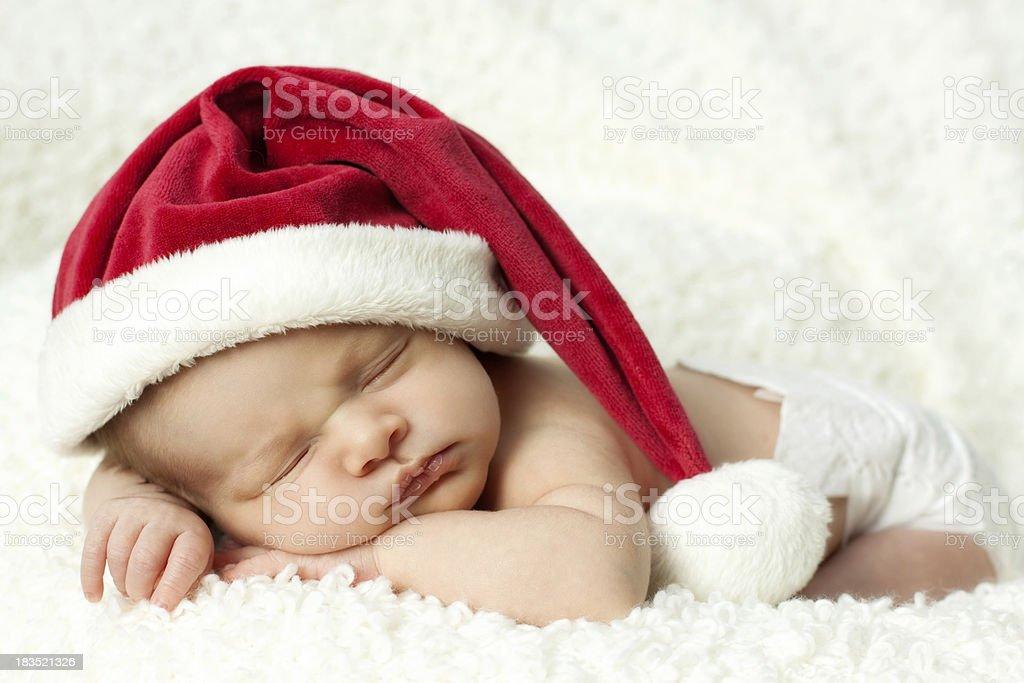 Newborn baby with Santa Hat royalty-free stock photo
