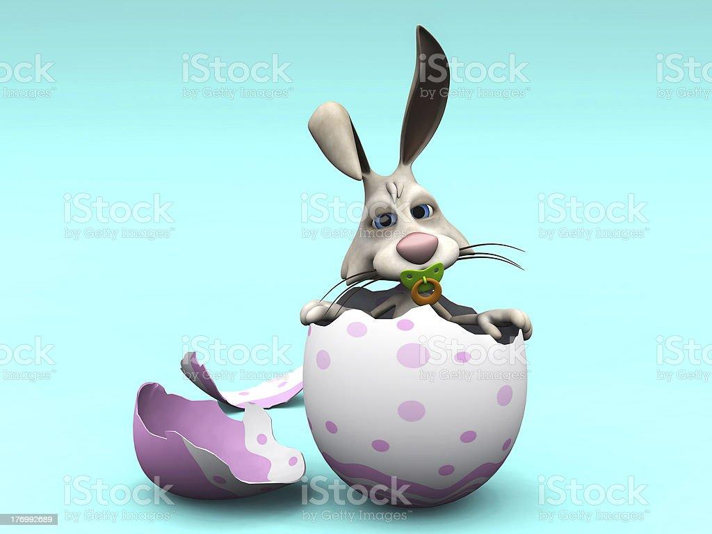 Newborn cartoon Easter Bunny in eggshell. royalty-free stock photo
