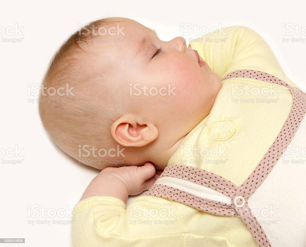 newborn european baby girl boy sleeping dreaming sweet 6 months stock photo