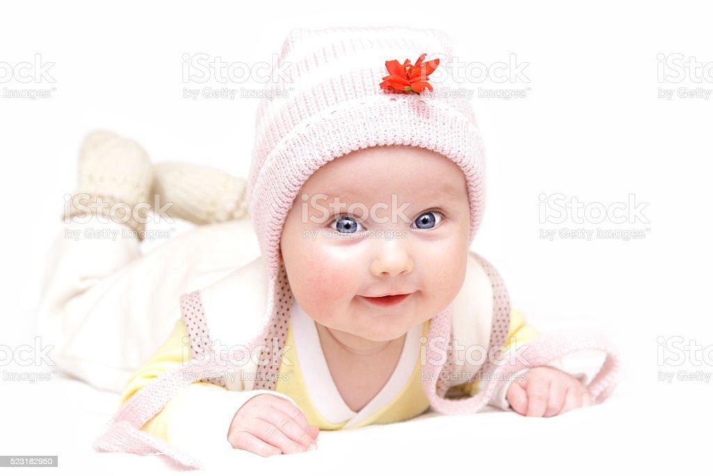 newborn european baby girl boy with red flower stock photo